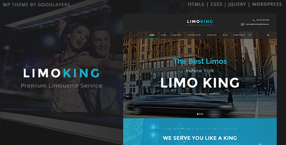 Limo King - Limousine / Transport / Car Hire Theme - Entertainment WordPress