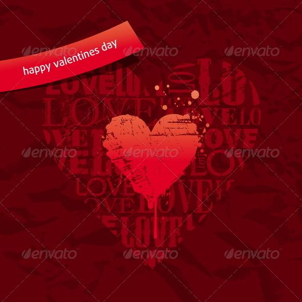 Valentines Card - Grunge Hearts on Vintage Paper - Valentines Seasons/Holidays