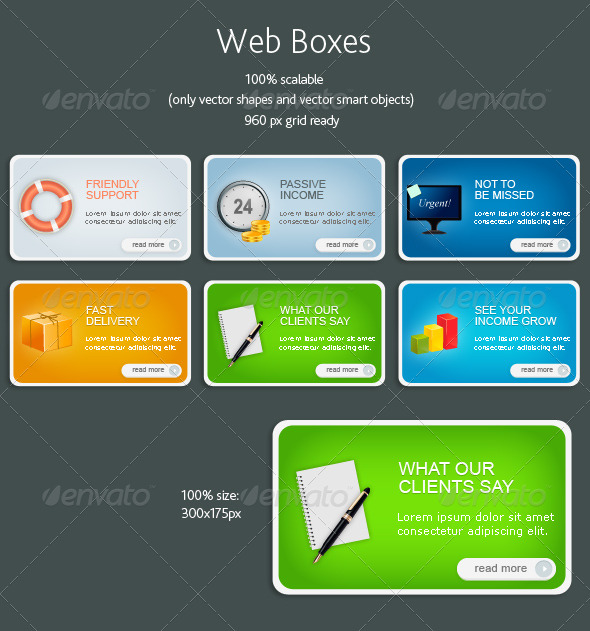 Scalable web boxes with icons - Buttons Web Elements