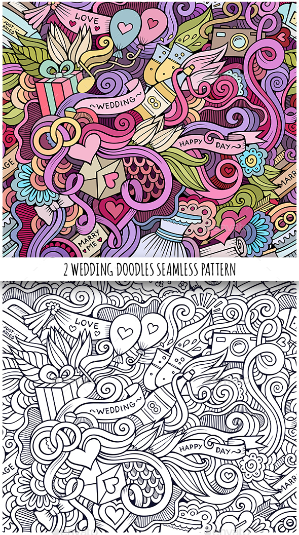 2 Wedding Doodles Seamless Patterns - Weddings Seasons/Holidays