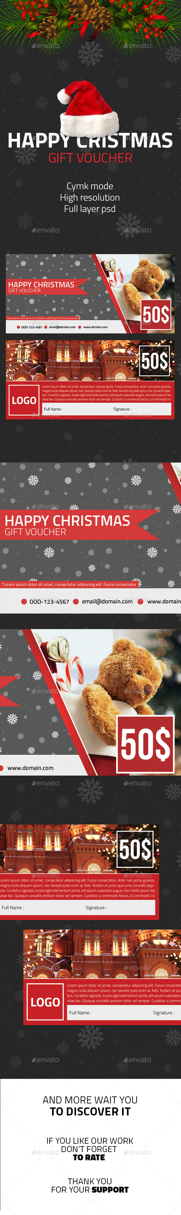 Happy Christmas Voucher Gift - Cards & Invites Print Templates