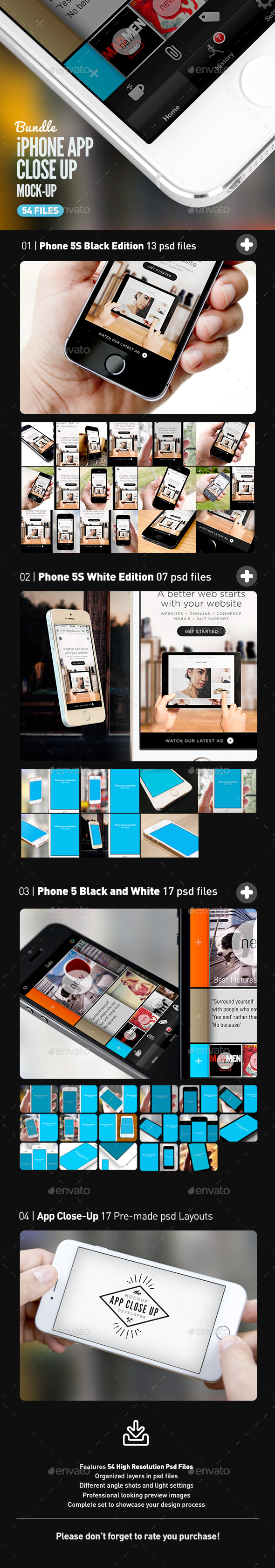 iPhone App UI Close-Up Mock-Up Bundle - Mobile Displays
