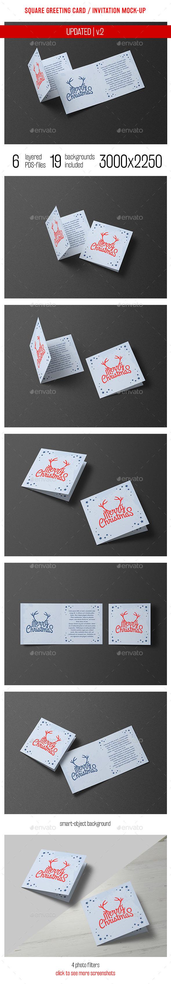 Square Greeting Card and Invitation Mockup - Miscellaneous Print