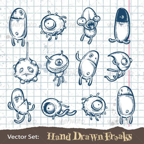 Set of Hand Drawn Freaks - Characters Vectors