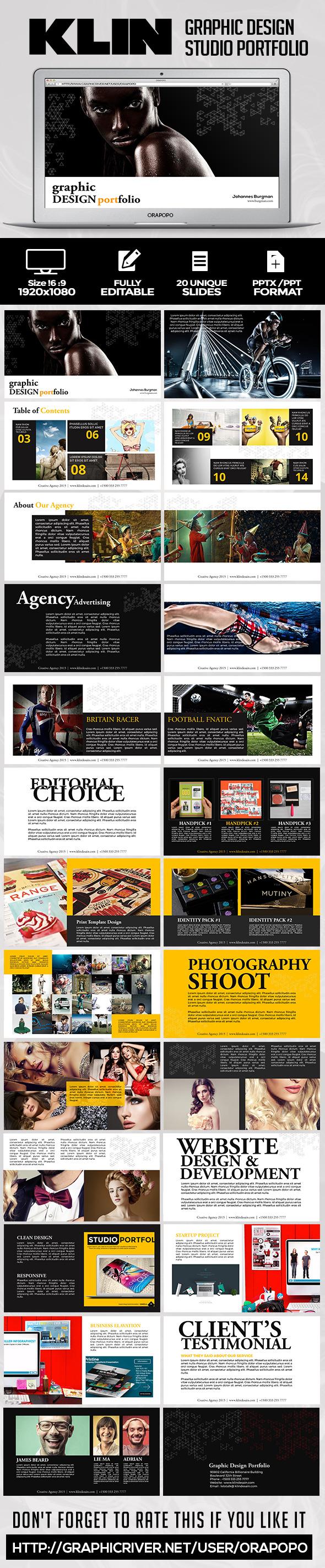 Klin Graphic Design Portfolio - Creative PowerPoint Templates