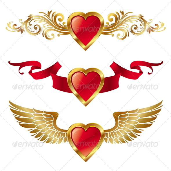 Vector Valentines Hearts With Decor - Valentines Seasons/Holidays
