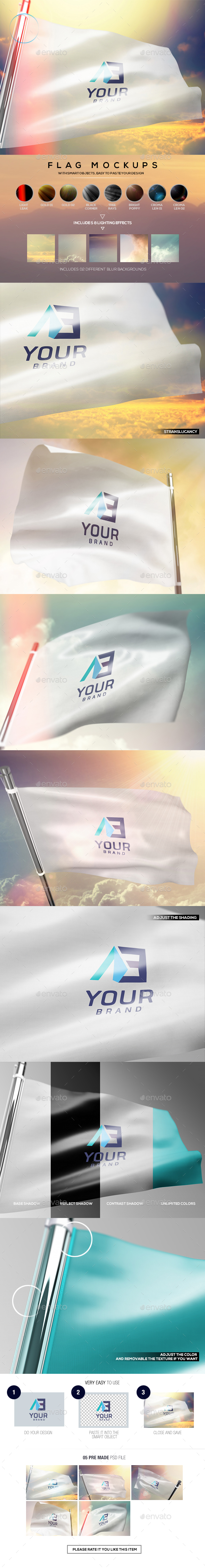 Flag Mockups - Miscellaneous Product Mock-Ups