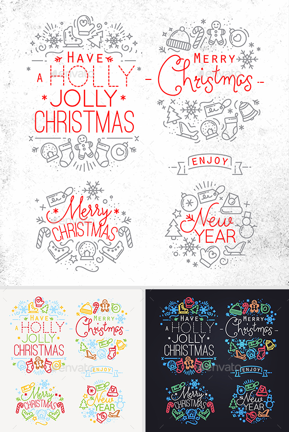 Flat Christmas Signs - Badges & Stickers Web Elements