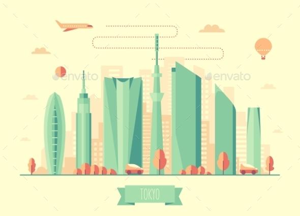 Tokyo Skyline Architecture Vector Design - Landscapes Nature