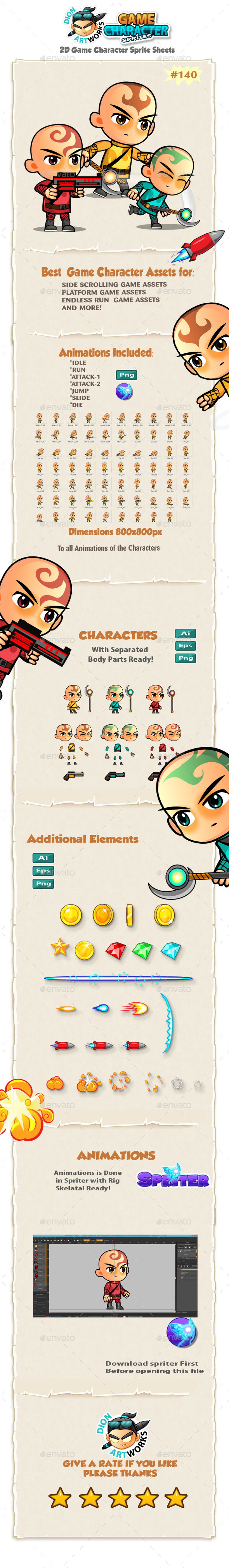 2D Game Character Sprites 140 - Sprites Game Assets
