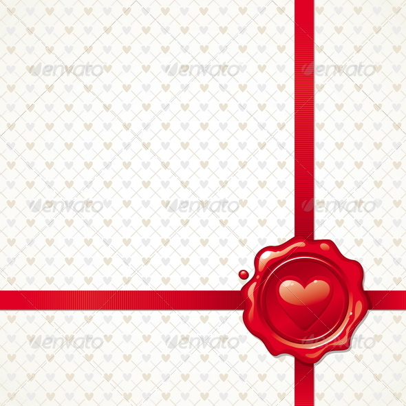 Background With Valentines Sealing Wax Stamp - Valentines Seasons/Holidays