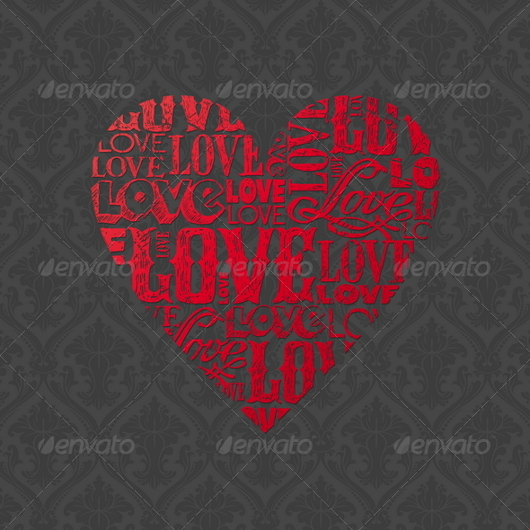 Vector Valentines Design With Heart - Valentines Seasons/Holidays