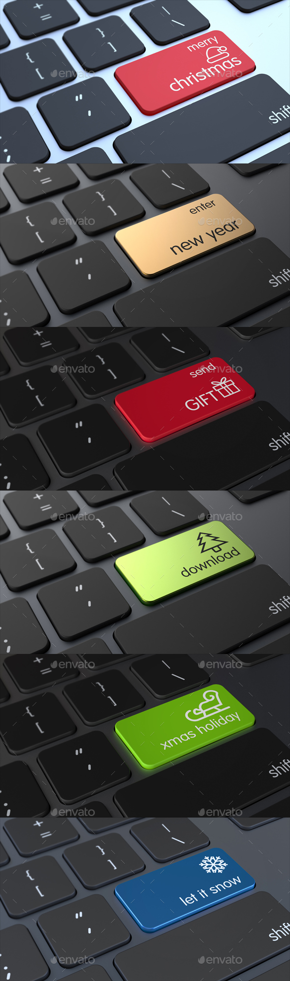 Keyboard with Christmas Keys 3D Concept - Technology 3D Renders