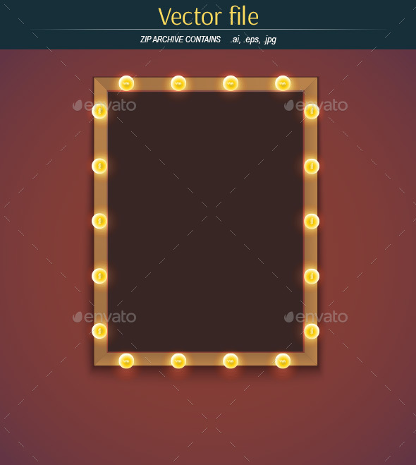 Light Bulbs and Frame with Place for Text - Decorative Vectors