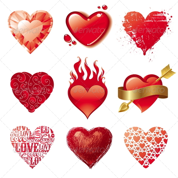 Vector Set of Different Valentines Hearts - Valentines Seasons/Holidays
