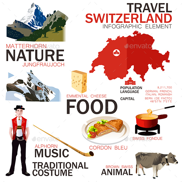 Infographic Elements for Traveling to Switzerland - Travel Conceptual