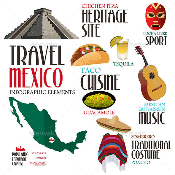 Infographic Elements for Traveling to Mexico - Travel Conceptual