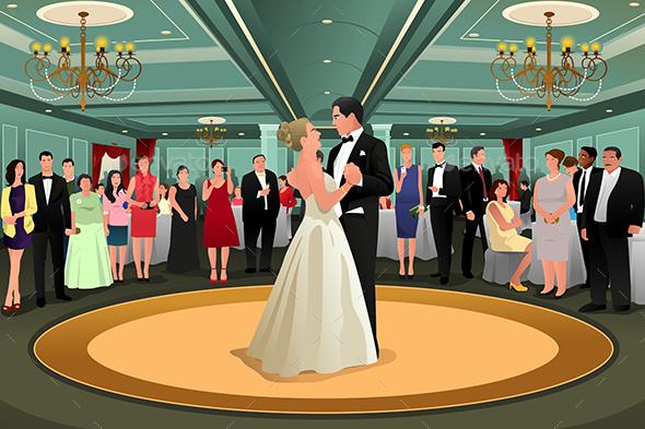 Bride Groom Dancing Their First Dance - Weddings Seasons/Holidays
