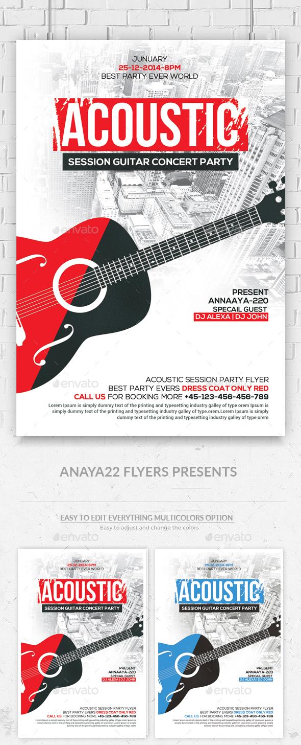 Acoustic Jam Session Flyer  - Concerts Events