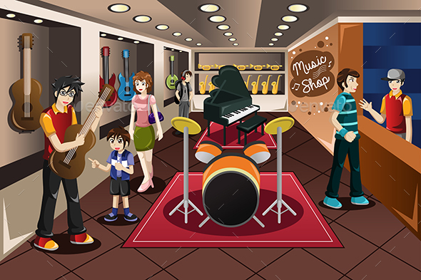 Parent Kid Buying Musical Instrument - Commercial / Shopping Conceptual