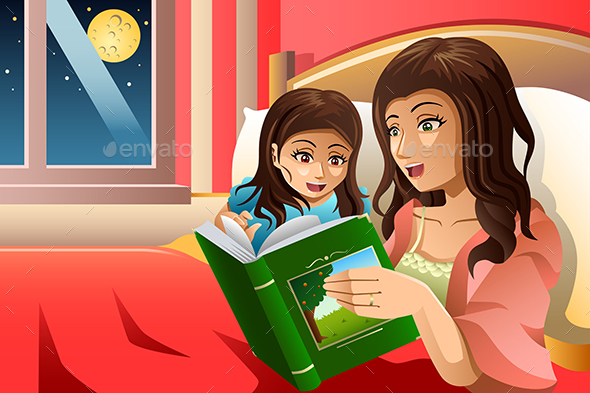 Mother Telling a Bedtime Story - People Characters
