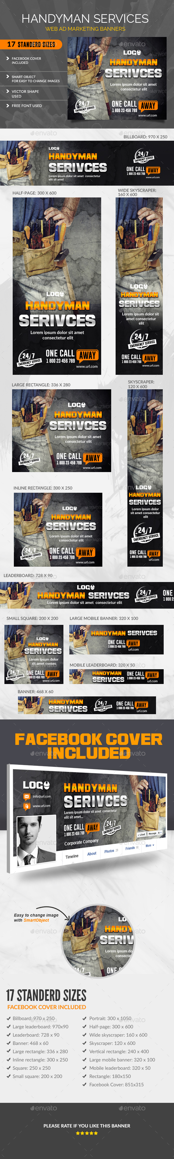 Handyman Services Banners - Banners & Ads Web Elements