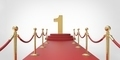 Number 1 gold red carpet VIP way gold fence on white gray background