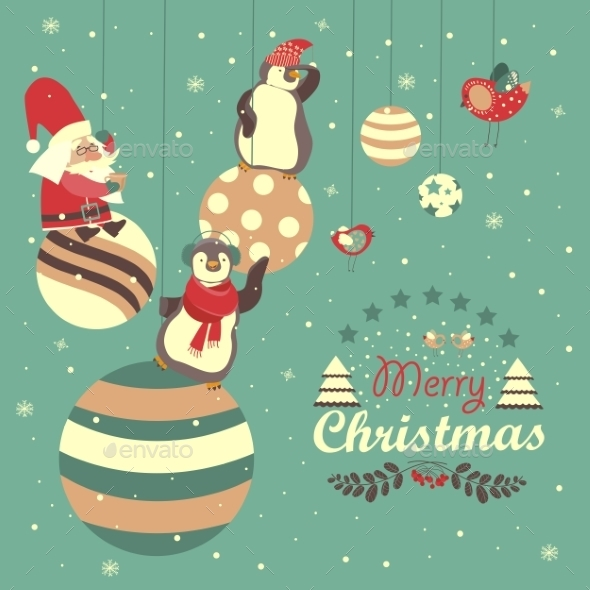 Funny Penguins With Santa Claus Celebrating - Christmas Seasons/Holidays