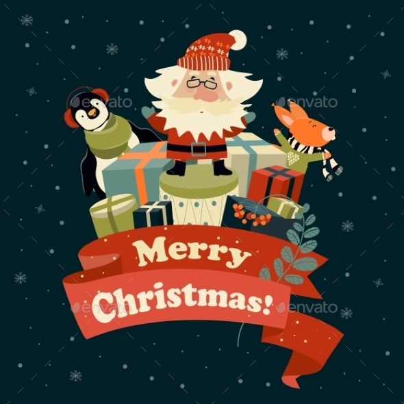 Santa Claus With Cute Squirrel And Penguin - Christmas Seasons/Holidays