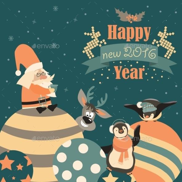 Funny Penguins With Santa Claus Celebrating - Christmas Seasons/Holidays