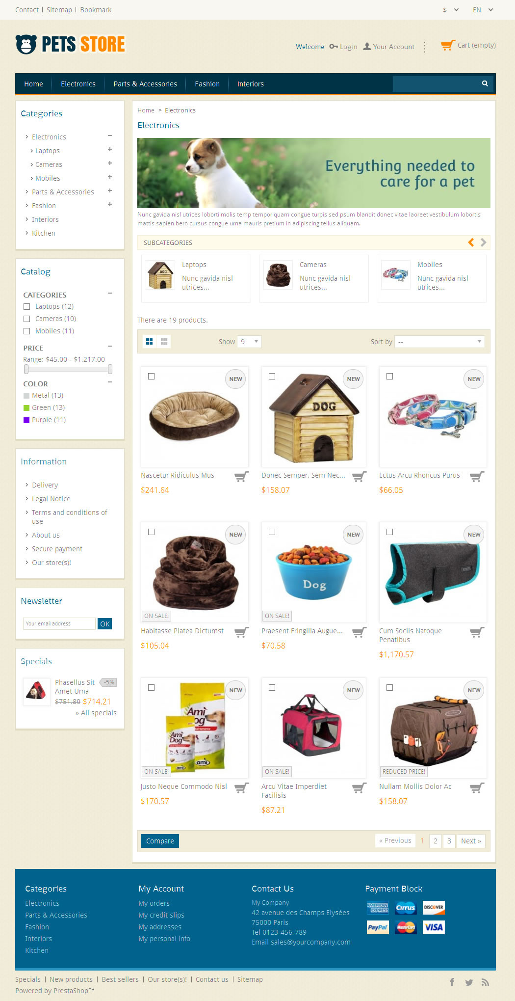Pet Store Prestashop Responsive Theme By Templatemela