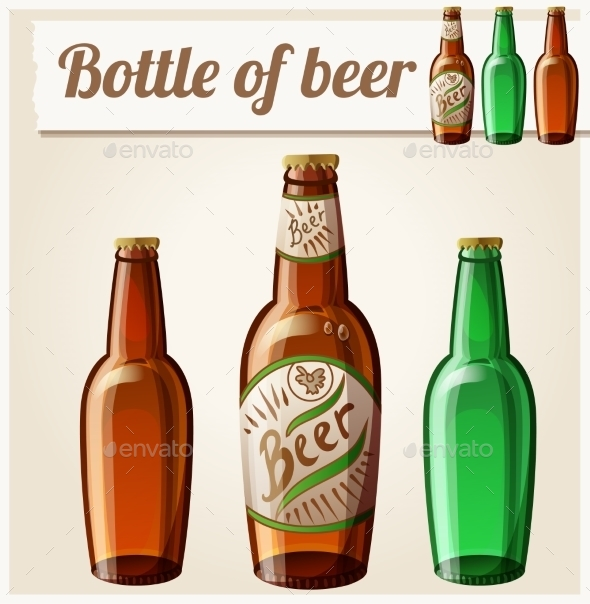 Bottle Of Beer. Detailed Vector Icon - Decorative Symbols Decorative