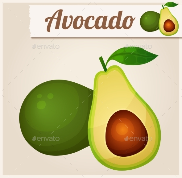 Avocado. Detailed Vector Icon - Food Objects