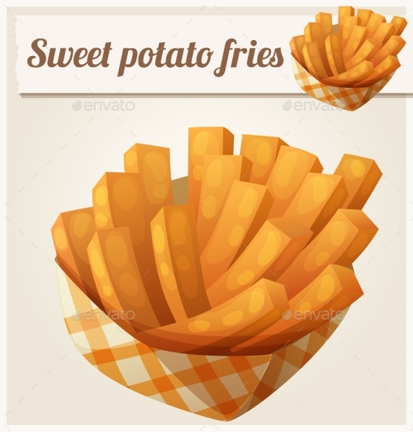 Sweet Potato Fries In Paper Box. Detailed Vector - Food Objects