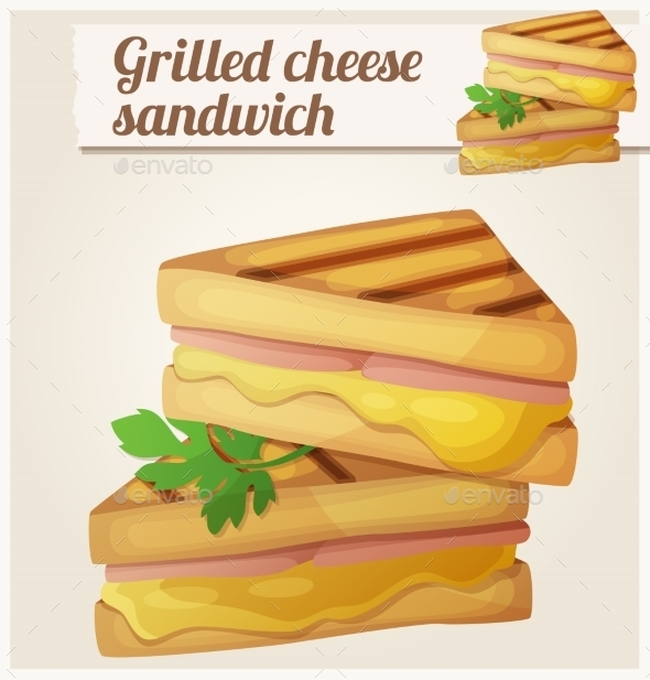 Grilled Cheese Sandwich. Detailed Vector Icon - Food Objects