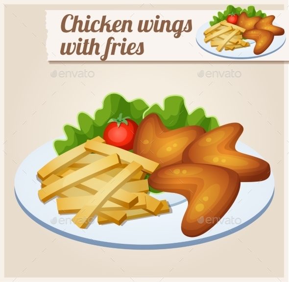 Chicken Wings With French Fries. Detailed Vector - Food Objects
