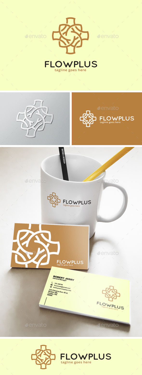 Abstract Flower Plus Logo - Abstract Logo Templates