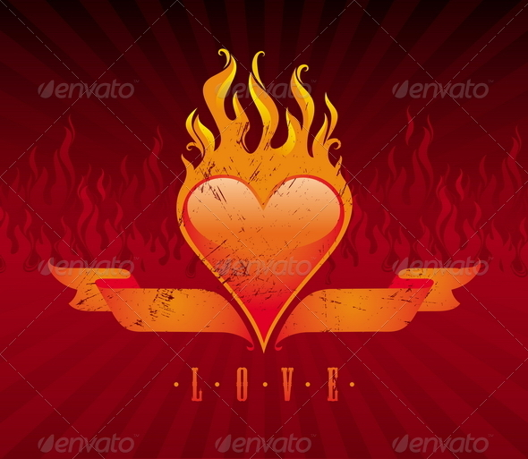 Vintage Flaming Heart And Ribbons - Valentines Seasons/Holidays