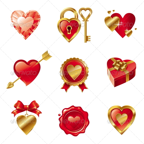 Vector Set With Valentines Signs And Symbols - Valentines Seasons/Holidays
