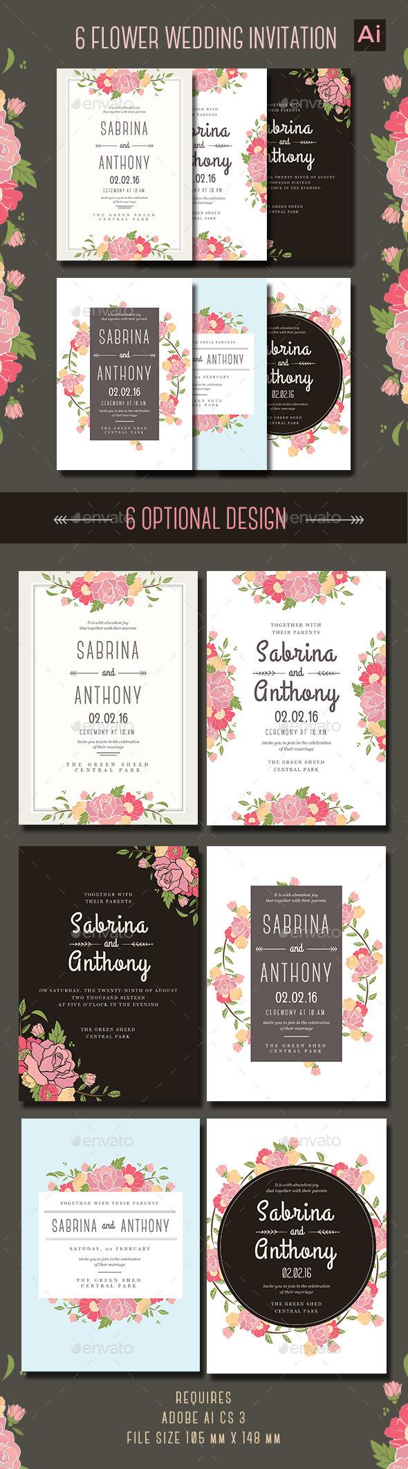 6 Floral Wedding Invitation - Weddings Cards & Invites