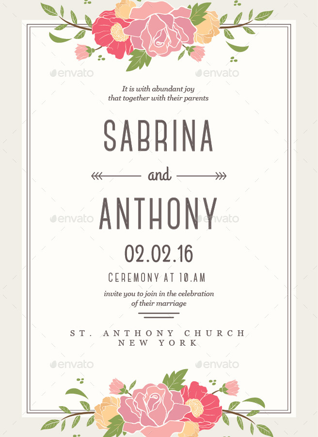 6 Floral Wedding Invitation by Guuver | GraphicRiver