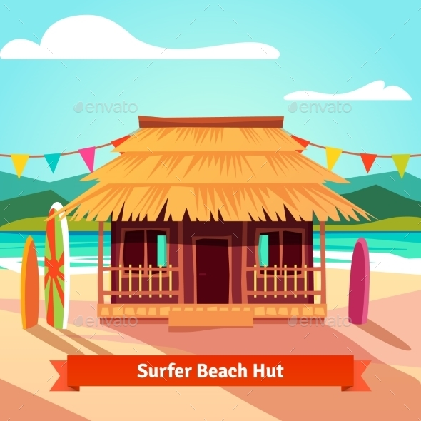 Surfers Lagoon Beach Hut With Standing Surfboards - Sports/Activity Conceptual