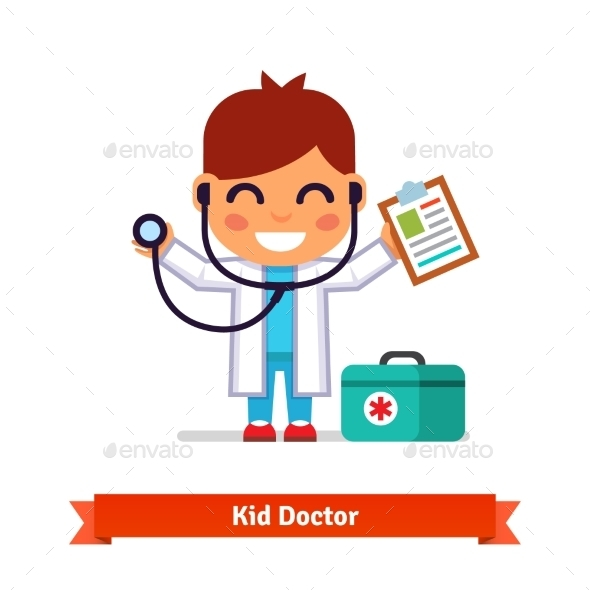 Little Boy Playing Doctor With a Stethoscope - Health/Medicine Conceptual