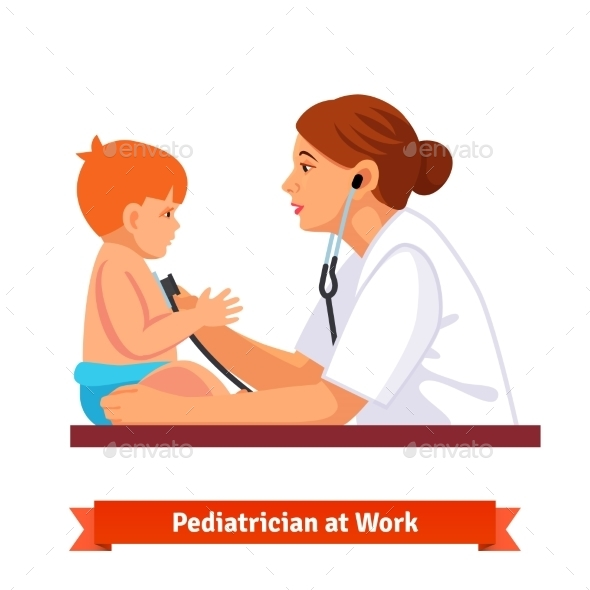 Woman Doctor Paediatrician Examines a Child - Health/Medicine Conceptual