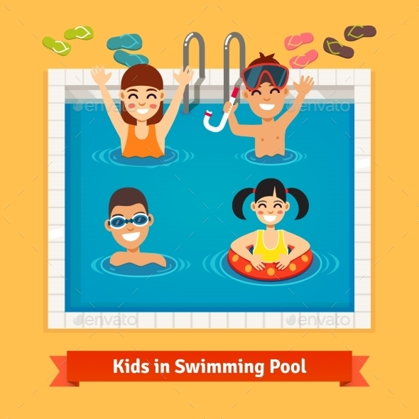 Kids Having Fun And Swimming In The Pool - People Characters