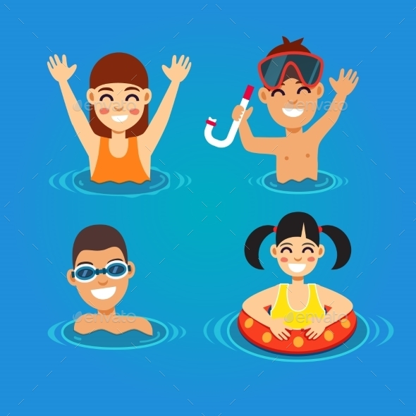 Kids Having Fun And Swimming In The Sea - Sports/Activity Conceptual