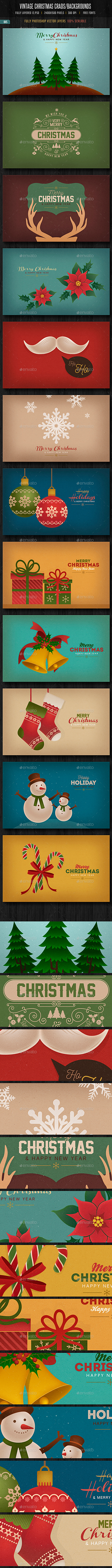 Vintage Christmas Cards/ Backgrounds