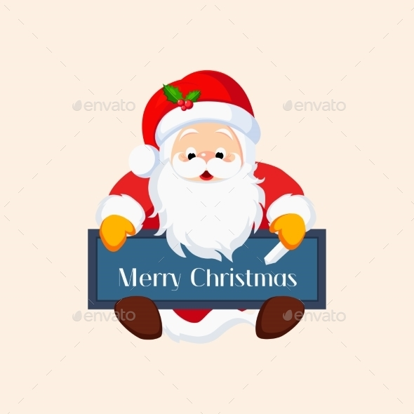 Christmas Santa Claus With a Chalkboard. Vector - New Year Seasons/Holidays