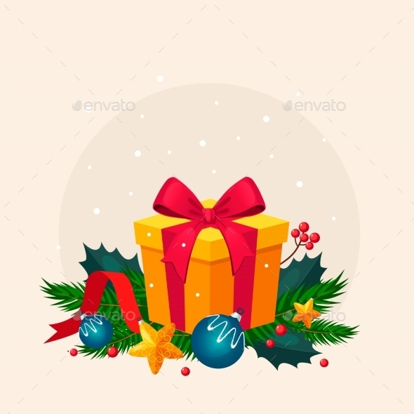 Christmas Decoration With Fir And Gift. Vector - New Year Seasons/Holidays