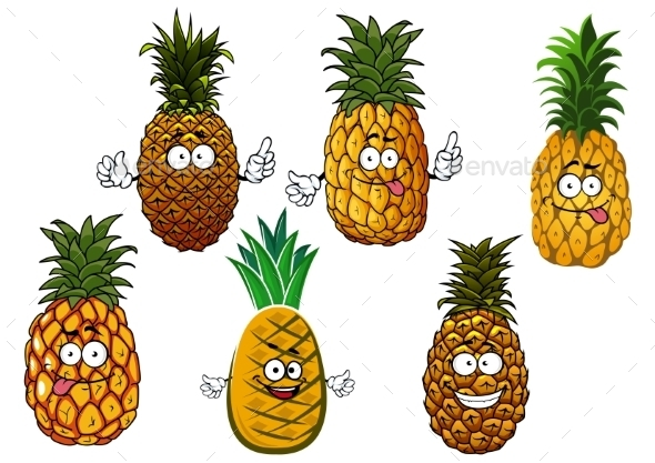 Juicy Pineapple Fruits Cartoon Characters - Food Objects